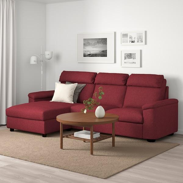 LIDHULT Canapé 3 places, avec méridienne/Lejde brun-rouge
