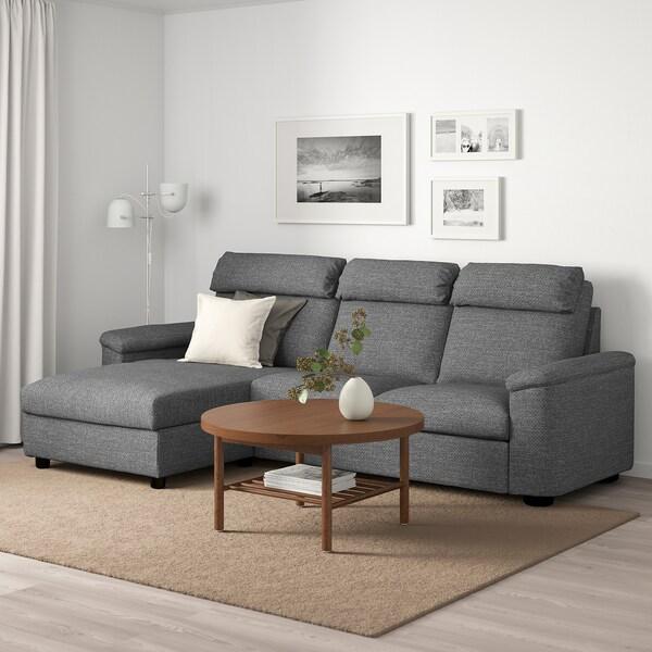 LIDHULT Canapé 3 places, avec méridienne/Lejde gris/noir