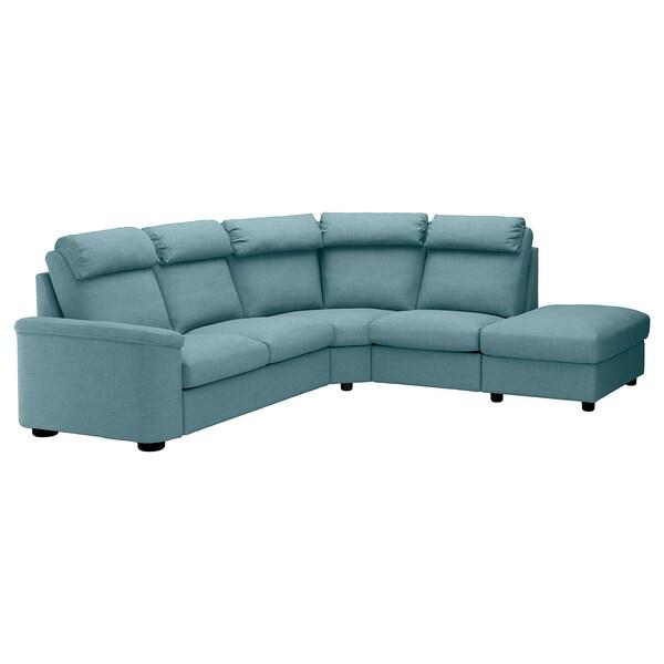 LIDHULT Canapé d'angle, 5 places, sans accoudoir/Gassebol bleu/gris