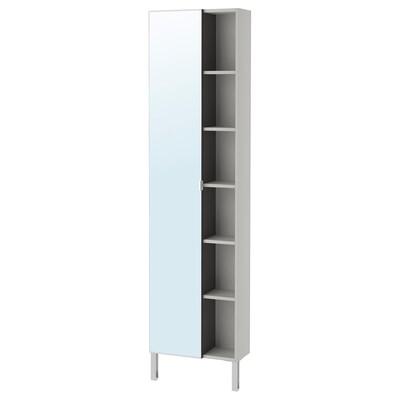 LILLÅNGEN colonne miroir 1porte/1étag fin brun noir/gris 49 cm 21 cm 194 cm