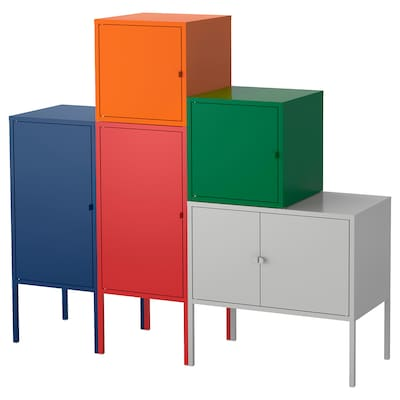 LIXHULT combinaison de rangement bleu foncé rouge/orange/gris/vert foncé 95 cm 117 cm 130 cm 35 cm 117 cm 21 cm 12 kg