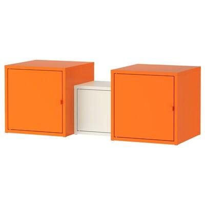 LIXHULT combinaison de rangement orange/blanc 95 cm 35 cm 35 cm