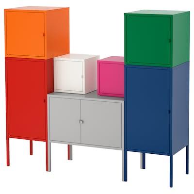LIXHULT combinaison de rangement rouge/orange/gris rose/blanc/bleu/vert 95 cm 117 cm 130 cm 35 cm 21 cm 12 kg