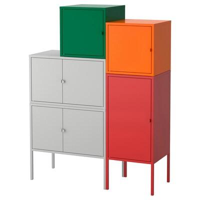 LIXHULT combinaison de rangement gris vert foncé/rouge/orange 105 cm 127 cm 95 cm 35 cm 127 cm 21 cm 12 kg