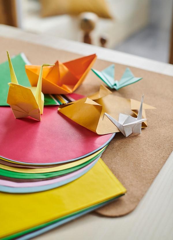 LUSTIGT Papier origami, multicolore/plusieurs formes