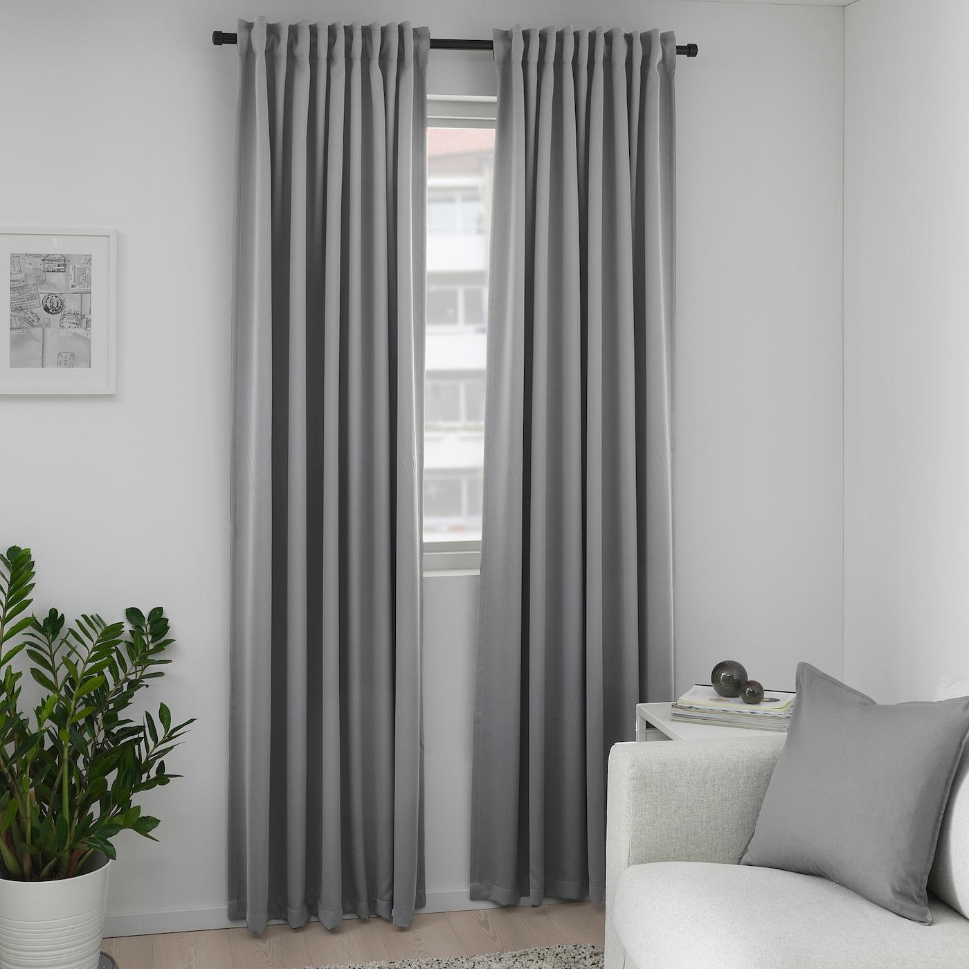 Rideau Gris Perle Ikea majgull rideaux occultant, 2 pièces - gris 145x300 cm