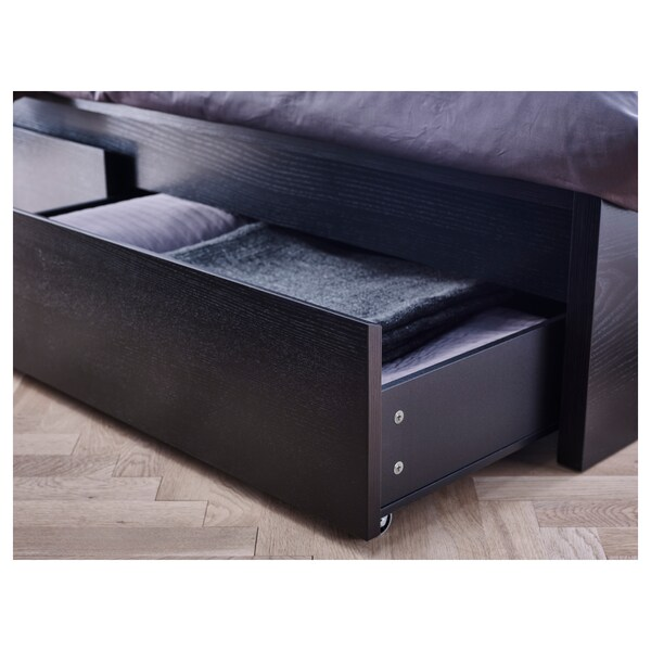 MALM Cadre lit, haut+4rgt, brun noir/Leirsund, 160x200 cm