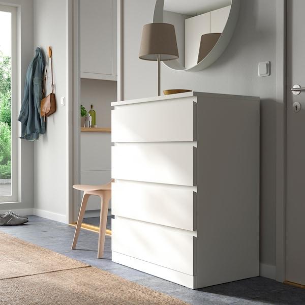 MALM Commode 4 tiroirs, blanc, 80x100 cm