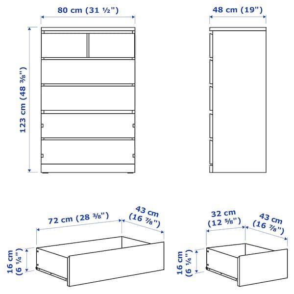 MALM Commode 6 tiroirs, brun noir, 80x123 cm