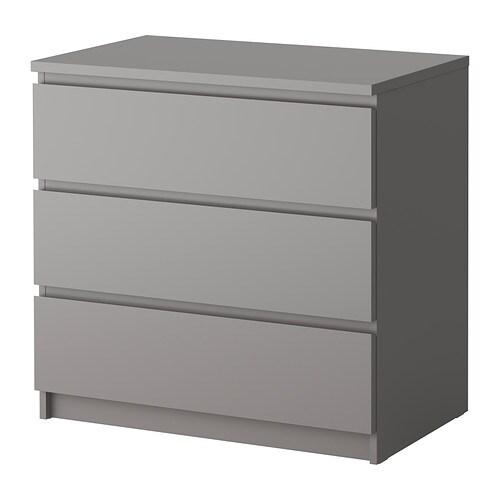 Malm commode 3 tiroirs gris ikea for Commode malm ikea 4 tiroirs