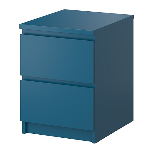 Malm commode 2 tiroirs turquoise ikea for Table de chevet malm chene blanchi
