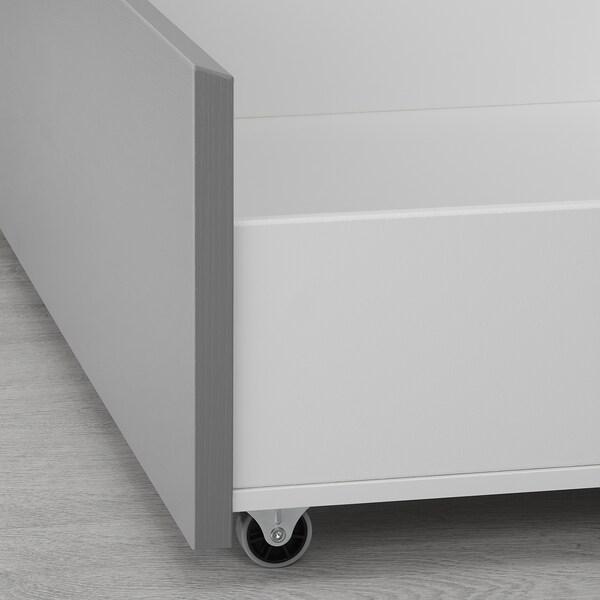 MALM Rangement pr lit haut, gris teinté, 200 cm