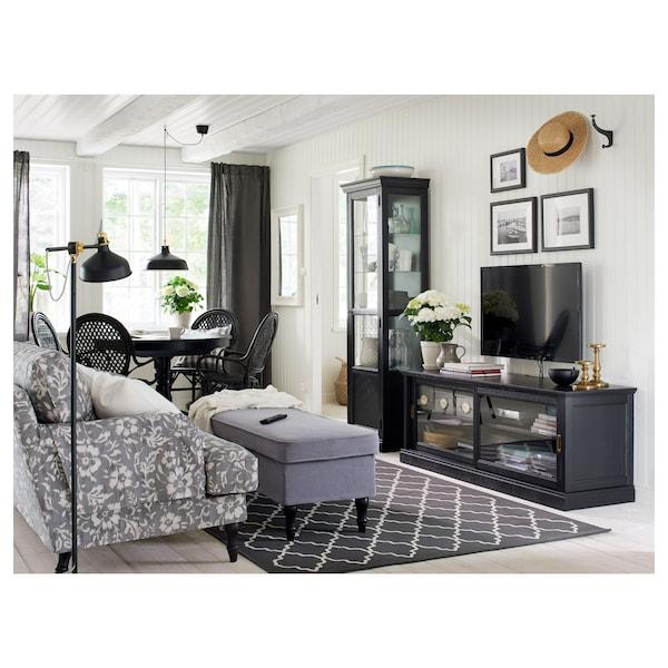 MALSJÖ Banc TV portes coulissantes, teinté noir, 160x48x59 cm