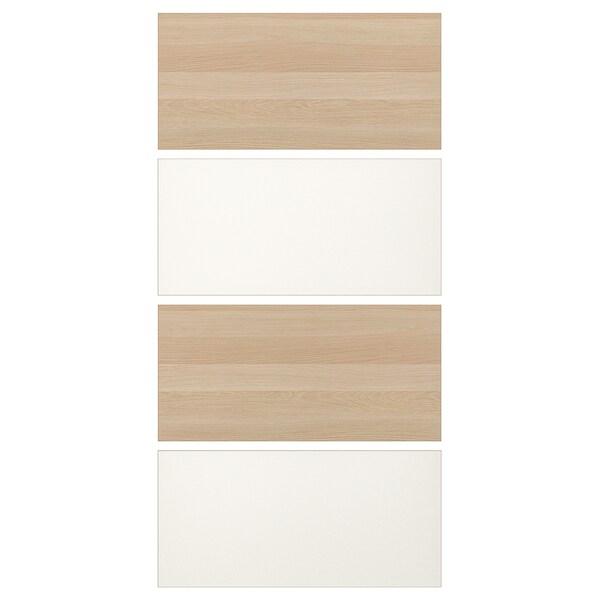MEHAMN 4 panneaux pour porte coulissante, effet chêne blanchi/blanc, 100x201 cm