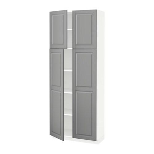 metod armoire avec tablettes 4 portes bodbyn gris. Black Bedroom Furniture Sets. Home Design Ideas