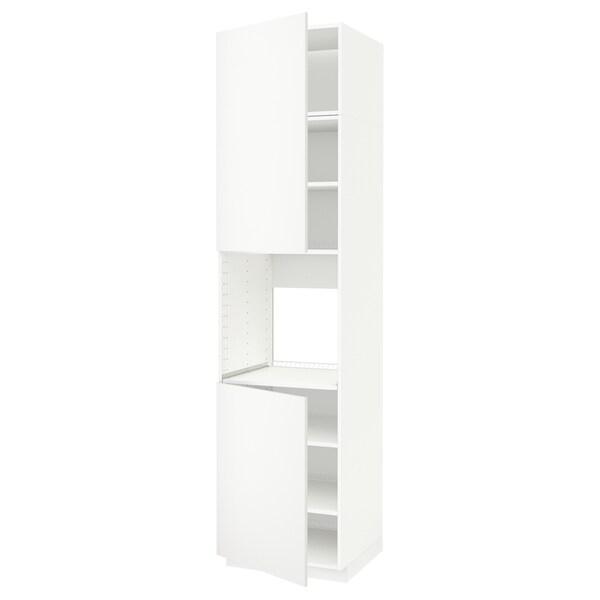 METOD Armoire four + 2 portes/tablette, blanc/Häggeby blanc, 60x60x240 cm