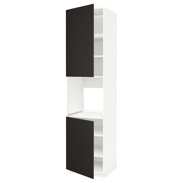 METOD Armoire four + 2 portes/tablette, blanc/Kungsbacka anthracite, 60x60x240 cm