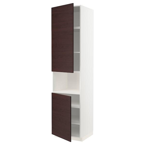 METOD Armoire micro-ondes+2ptes/tablette, blanc Askersund/brun foncé décor frêne, 60x60x240 cm