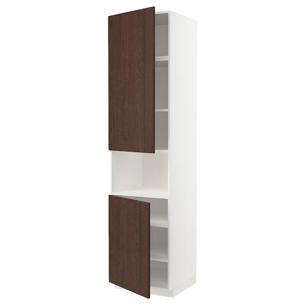 METOD Armoire micro-ondes+2ptes/tablette, blanc/Sinarp brun, 60x60x240 cm