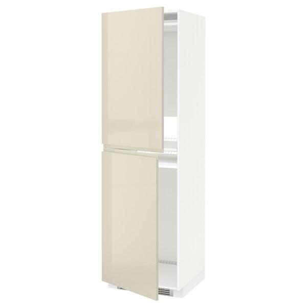 METOD Armoire pour réfrig./congélateur, blanc/Voxtorp beige clair brillant, 60x60x200 cm