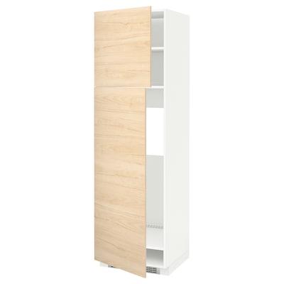 METOD Armoire réfrigérateur + 2 portes, blanc/Askersund effet frêne clair, 60x60x200 cm