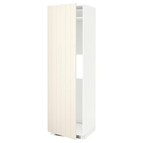 METOD Armoire réfrigérateur/congél+pte, blanc/Hittarp blanc cassé, 60x60x200 cm