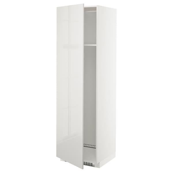 METOD Armoire réfrigérateur/congél+pte, blanc/Ringhult gris clair, 60x60x200 cm