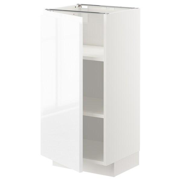 METOD élément bas avec tablettes blanc/Voxtorp brillant/blanc 40.0 cm 39.5 cm 88.0 cm 37.0 cm 80.0 cm