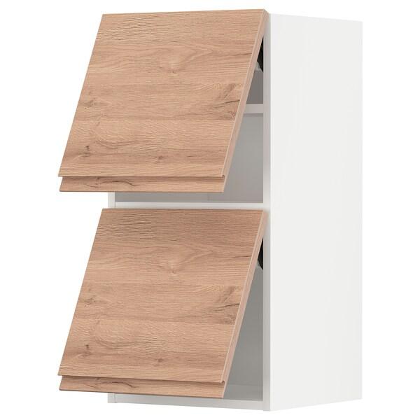 METOD Él mur horiz 2 ptes av ouv press, blanc/Voxtorp motif chêne, 40x80 cm