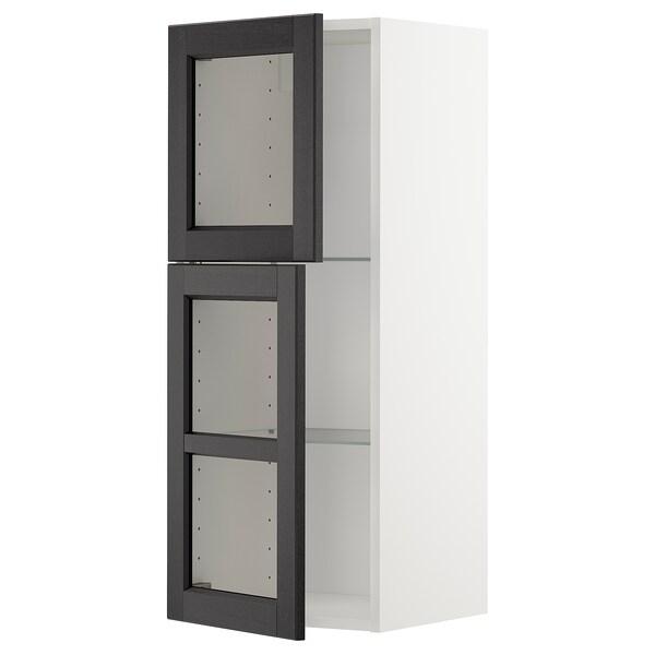 METOD Él mur+tblts/2pts vit, blanc/Lerhyttan teinté noir, 40x100 cm