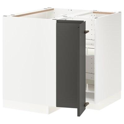 METOD Élément bas angle+rgt pivotant, blanc/Voxtorp gris foncé, 88x88 cm