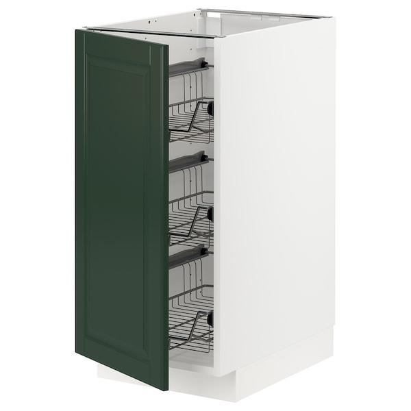 METOD Élément bas avec corbeilles en fil, blanc/Bodbyn vert foncé, 40x60 cm