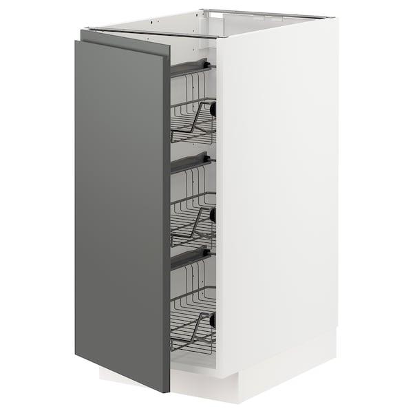 METOD Élément bas avec corbeilles en fil, blanc/Voxtorp gris foncé, 40x60 cm