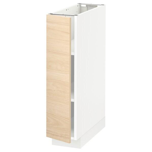 METOD Élément bas avec tablettes, blanc/Askersund effet frêne clair, 20x60 cm