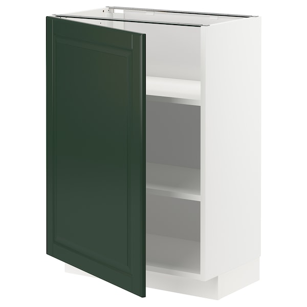 METOD Élément bas avec tablettes, blanc/Bodbyn vert foncé, 60x37 cm