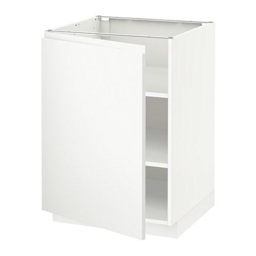 Metod l ment bas avec tablettes voxtorp blanc 60x60 cm for Element bas cuisine ikea