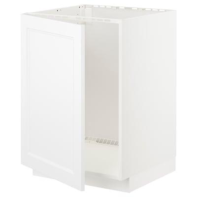 METOD Élément bas évier, blanc/Axstad blanc mat, 60x60 cm