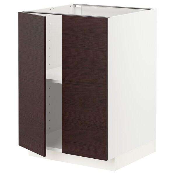 METOD Élément bas tablette/2portes, blanc Askersund/brun foncé décor frêne, 60x60 cm