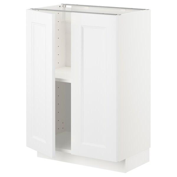 METOD Élément bas tablette/2portes, blanc/Axstad blanc mat, 60x37 cm