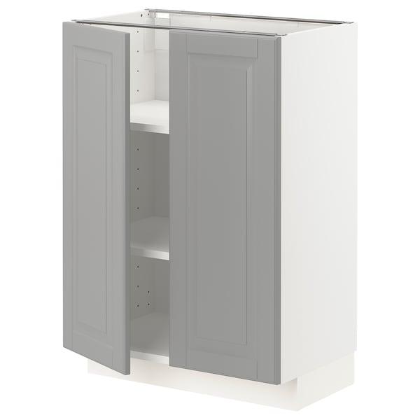 METOD Élément bas tablette/2portes, blanc/Bodbyn gris, 60x37 cm
