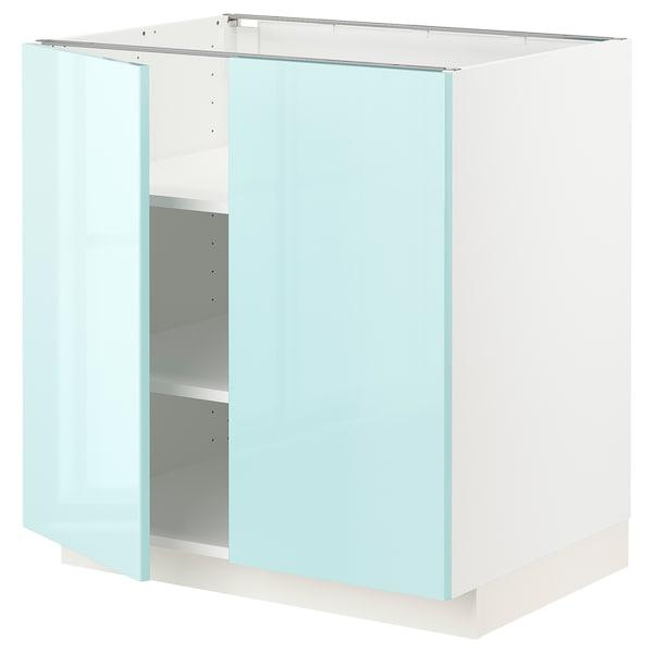 METOD Élément bas tablette/2portes, blanc Järsta/brillant turquoise clair, 80x60x80 cm
