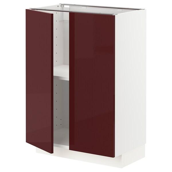 METOD Élément bas tablette/2portes, blanc Kallarp/brillant brun-rouge foncé, 60x37 cm