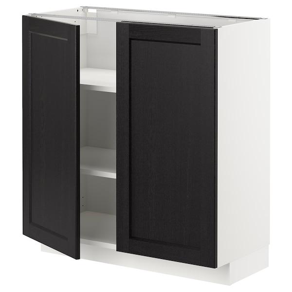 METOD Élément bas tablette/2portes, blanc/Lerhyttan teinté noir, 80x37 cm