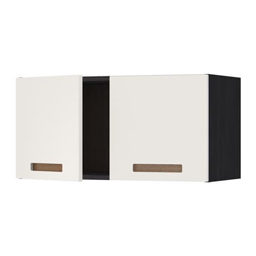 metod l ment mural 2 portes effet bois noir m rsta blanc ikea. Black Bedroom Furniture Sets. Home Design Ideas