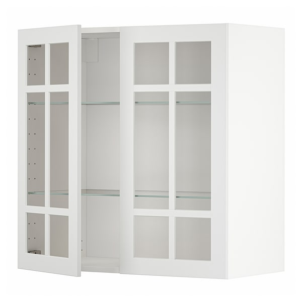 METOD Élément mural+tablettes/2ptes vitr, blanc/Stensund blanc, 80x80 cm