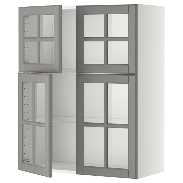 METOD Élément mural+tablettes/4ptes vitr, blanc/Bodbyn gris, 80x100 cm