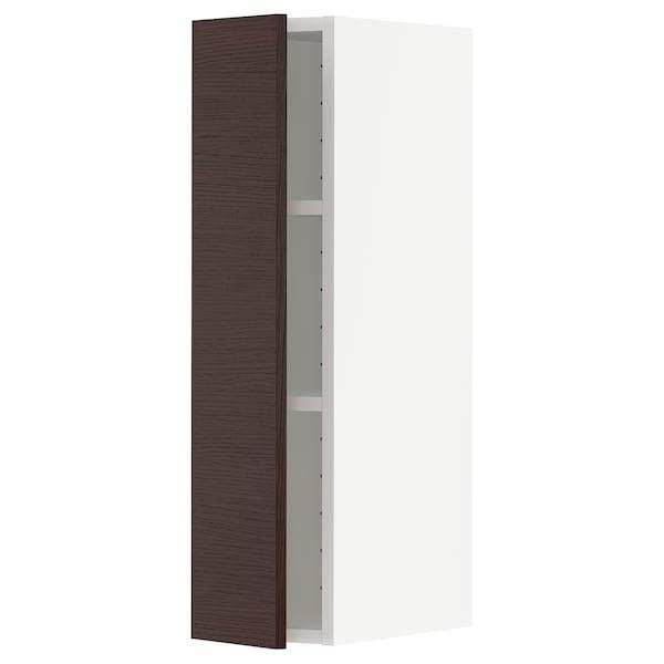 METOD Élément mural + tablettes, blanc Askersund/brun foncé décor frêne, 20x80 cm