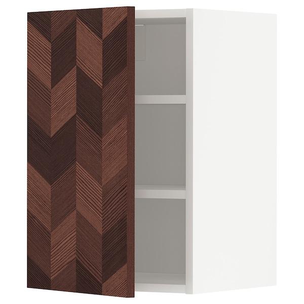METOD Élément mural + tablettes, blanc Hasslarp/brun à motifs, 40x60 cm