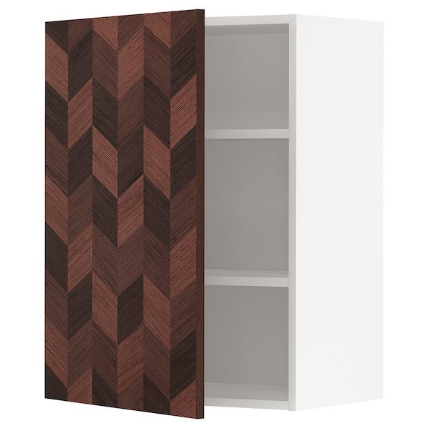 METOD Élément mural + tablettes, blanc Hasslarp/brun à motifs, 60x80 cm