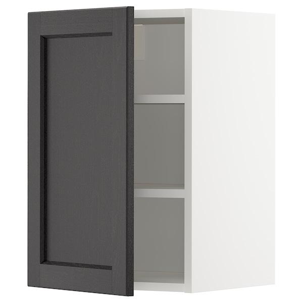 METOD Élément mural + tablettes, blanc/Lerhyttan teinté noir, 40x60 cm